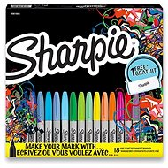 Permanentní popisovače Sharpie Fine, 18 barev, látkové pouzdro - Popisovač