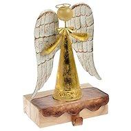 Anděl plech + dřevo s háčkem 24cm - zlatý - Vánoční ozdoby