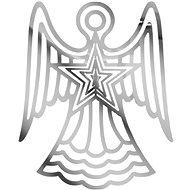 Anděl stříbrný závěs vánoční plech. 9,9x12,1cm 1804B-18(12CM) - Vánoční ozdoby