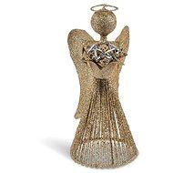Anděl zlatý vánoční plech. 25cm R2366 - Vánoční ozdoby
