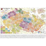 Česká republika administrativní 140x200cm lamino, lišty nástěnná mapa