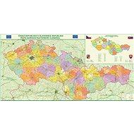 Česko a Slovensko administrativní členění 100x200cm lamino, lišty  nástěnná mapa