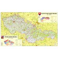 Česko a Slovensko automapa 110x160cm lamino, lišty nástěnná mapa