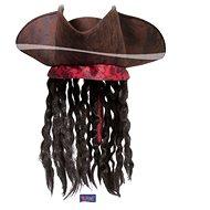 Pirátský Klobouk Hnědý s Vlasy - Jack Sparrow - Doplněk ke kostýmu