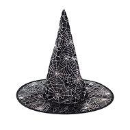 Klobouk Čarodějnice - Čaroděj - Potisk Pavučina - Halloween - Doplněk ke kostýmu