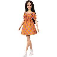 Barbie Modelka - Oranžové šaty s puntíky - Panenky
