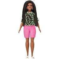 Barbie Modelka - Tričko s neonovým leopardím vzorem v růžovými šortkami - Panenky