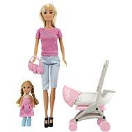 Sada panenka Anlily kloubová s holčičkou a kočárkem + doplňky