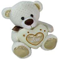 Medvídek Srdíčko Béžový - 23 cm - Plyšový medvěd