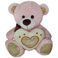 Medvídek Srdíčko Růžový - 23 cm - Plyšový medvěd