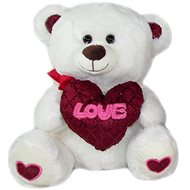 Medvídek se srdcem Love - 30 cm Bílý - Plyšový medvěd