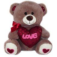 Medvídek se srdcem Love - 30 cm Hnědý