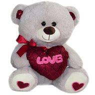 Medvídek se srdcem Love - 30 cm Šedý - Plyšový medvěd