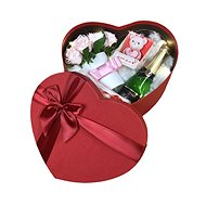 Light heart gift box with mini pink flower box, sparkling wine, teddy bear shaped candle and Raffael - Gift Box