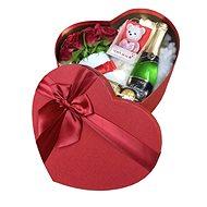 Dárkový box srdce světelné s mini červeným flower boxem, sektem, svíčkou ve tvaru medvídka a Ferrere - Dárkový box