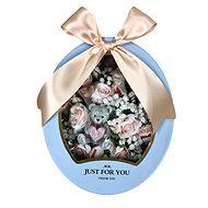 """Just for you"" gift box with low pink flower box, teddy bear candle and Raffaell 27"