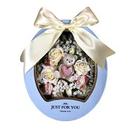 """Just for you"" gift box with low cream flower box, teddy bear candle and Raffaell 27"