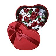 Heart-shaped gift box with low red flower box, teddy bear-shaped candle and Raffaell 27 cm - Gift Box