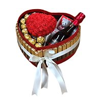 "Gift box ""Merci"" with red heart of roses and sparkling wine 28.5 cm"