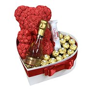 "Gift box ""Love"" with a red teddy bear made of roses and sparkling wine 32 cm"