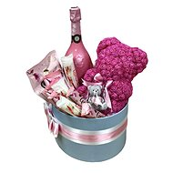 "Gift box ""VIP"" pink with a teddy bear made of roses, champagne, Geisha delicacies, Raffaell and a ca - Gift Box"