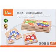 Dřevěné magnetické puzzle - dopravní prostředky - Dřevěná hračka
