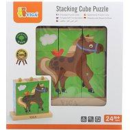 Dřevěné kostky 9 ks - farma - Dřevěná hračka