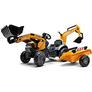 Šlapací traktor Traktor šlapací Case Constraction 580 Super N oranžový s přední i zadní lžící a valníkem