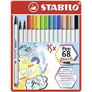 STABILO Pen 68 brush kovové pouzdro 15 barev - Fixy