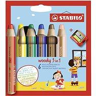 STABILO woody 3in1, pouzdro s ořezávátkem 6 barev