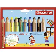 STABILO woody 3in1, pouzdro s ořezávátkem 10 barev - Pastelky