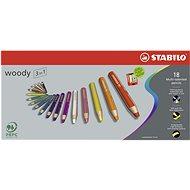 STABILO woody 3in1, pouzdro s ořezávátkem 18 barev