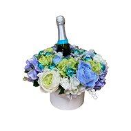 Květinový box z pryskyřníků modrý s Lindt bonbóny a sektem 35 cm - Dárkový box