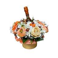 Květinový box z pryskyřníků oranžový s Lindt bonbóny a sektem 35 cm - Dárkový box