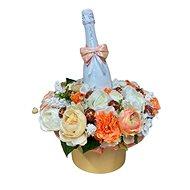 Květinový box z pryskyřníků oranžový větší s Lindt bonbóny a sektem 47 cm - Dárkový box