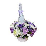 Květinový box z pryskyřníků fialový větší s Lindt bonbóny a sektem 47 cm - Dárkový box