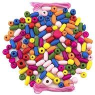Korálky Teddies Korálky dřevěné barevné s gumičkami cca 90 ks v plastové dóze