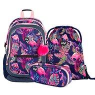 BAAGL Set 3 Flamingo: batoh, penál, sáček - Školní set
