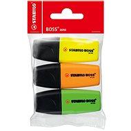 STABILO BOSS MINI MINIpop 3 ks - žlutý, zelený, oranžový - Zvýrazňovač