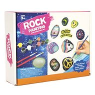 Painting on glow-in-the-dark stones/pebbles with paint brushes and accessories