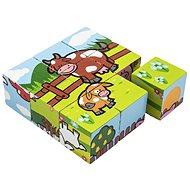Teddies Kostky kubus Moje první zvířátka - Dřevěné kostky