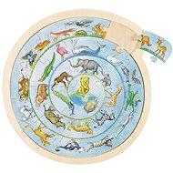 Goki kulaté puzzle na desce - zvířátka - Puzzle