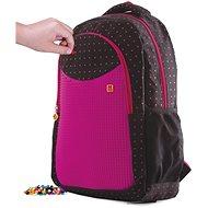 Pixie Crew studentský batoh černý s fuchsiovým puntíkem - Školní batoh
