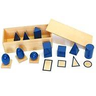 Geometrická tělesa s podstavci a krabicí - Didaktická hračka