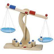 Goki dřevěná váha s kovovými miskami + 6 těžítek - Motorická hračka