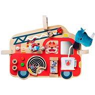 Didaktická hračka Lilliputiens - dřevěný panel s aktivitami  - hasičský vůz