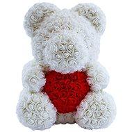 Rose Bear Bílý medvídek z růží s červeným srdcem 38 cm - Medvídek z růží