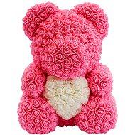Rose Bear Růžový medvídek z růží s bílým srdcem 38 cm - Medvídek z růží