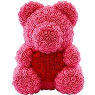 Rose Bear Růžový medvídek z růží s červeným srdcem 38 cm - Medvídek z růží