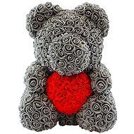 Rose Bear Šedý medvídek z růží s červeným srdcem 38 cm - Medvídek z růží